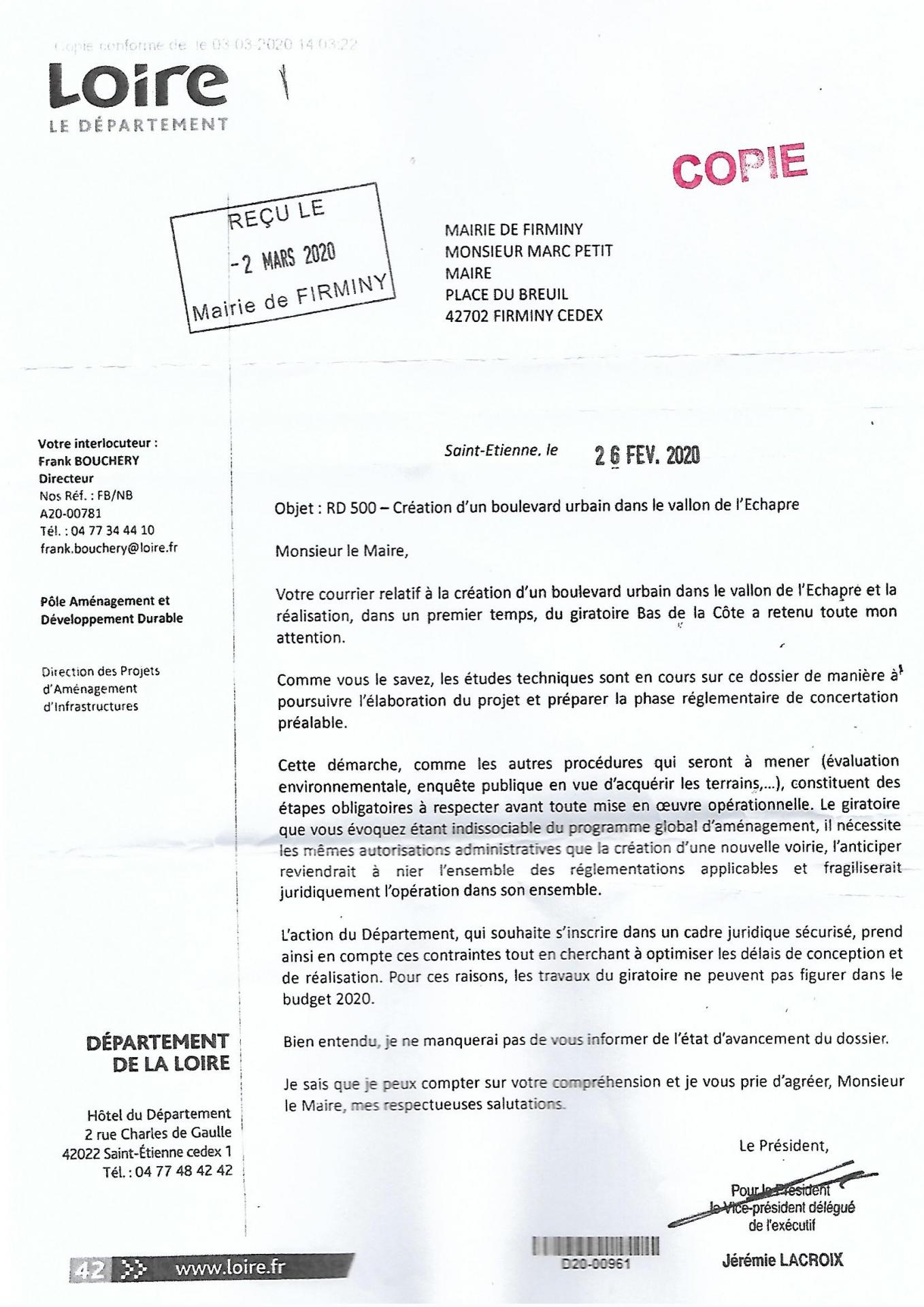 Courrier cd 42 a mr le maire 26 02 2020