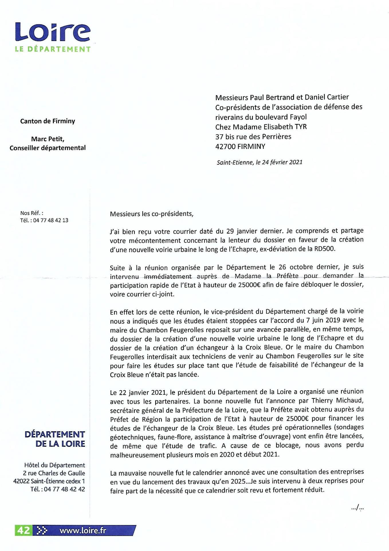 Courrier du Conseiller départemental Marc Petit p1