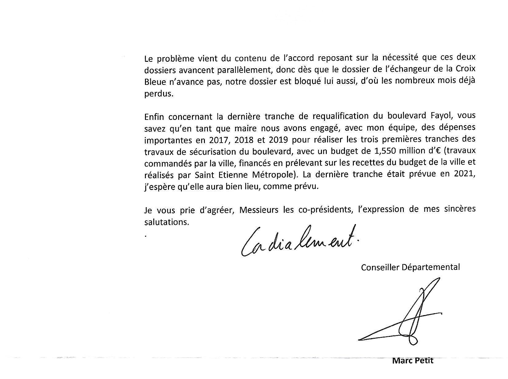 Courrier du Conseiller départemental Marc Petit p2
