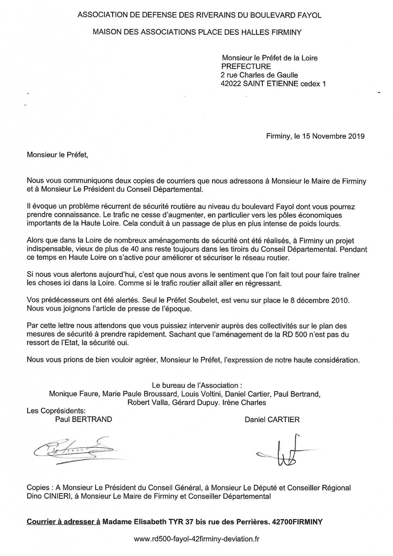 Lettre au prefet 15 11 2019