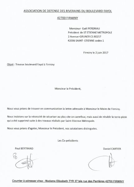 Lettre au president st etienne metropole 02 06 2017