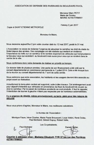 Lettre maire firminy le o2 06 2017