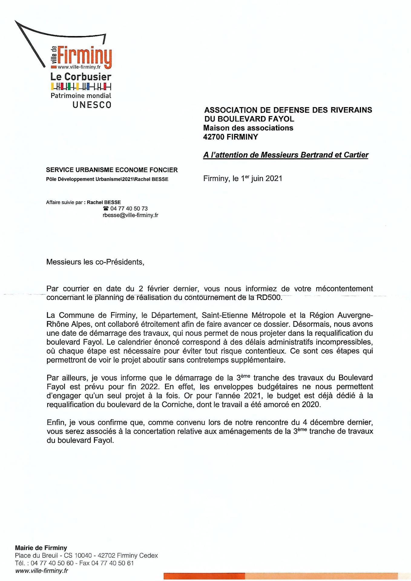 Lettre Mr le Maire 01/ 06/ 2022 p1